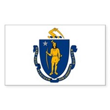 Massachusetts Flag Rectangle Decal
