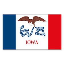 Iowa Flag Rectangle Stickers