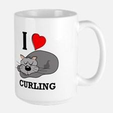 Curling Kitty Mug