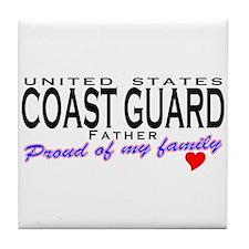Proud Coast Guard Dad Tile Coaster