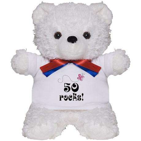 Cute 50 Rocks 50th Birthday Teddy Bear