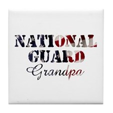 National Guard Grandpa Flag Tile Coaster
