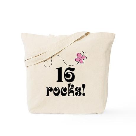 Cute 16 Rocks 16th Birthday Tote Bag