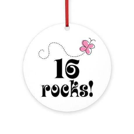 Cute 16 Rocks 16th Birthday Ornament (Round)