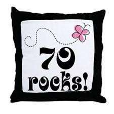 Cute 70 Rocks 70th Birthday Throw Pillow