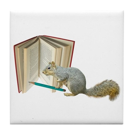 Squirrel Pencil Book Tile Coaster