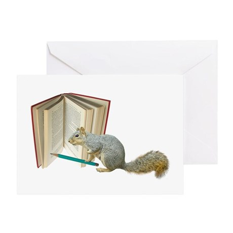 Squirrel Pencil Book Greeting Card