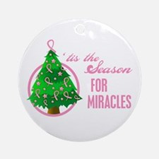 BreastCancer XmasMiracle Ornament (Round)