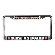 Cute Nurse on Board License Plate Frame