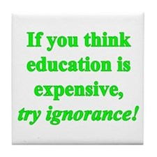 Education quote (green) Tile Coaster
