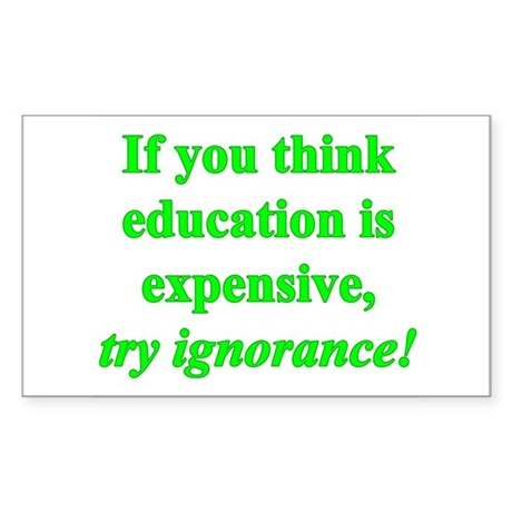Education quote (green) Sticker (Rectangle)