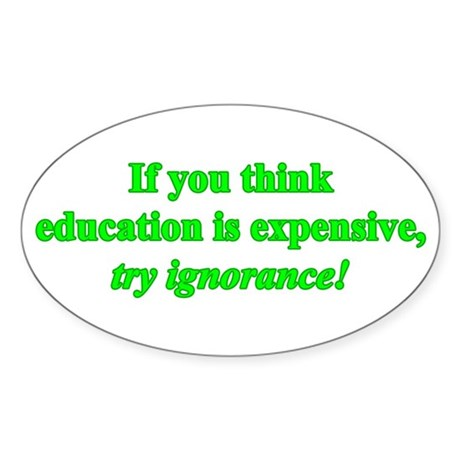 Education quote (green) Sticker (Oval)