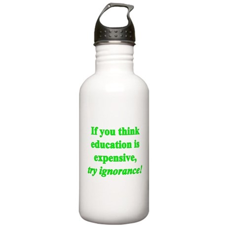 Education quote (green) Stainless Water Bottle 1.0