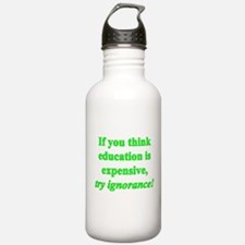 Education quote (green) Water Bottle