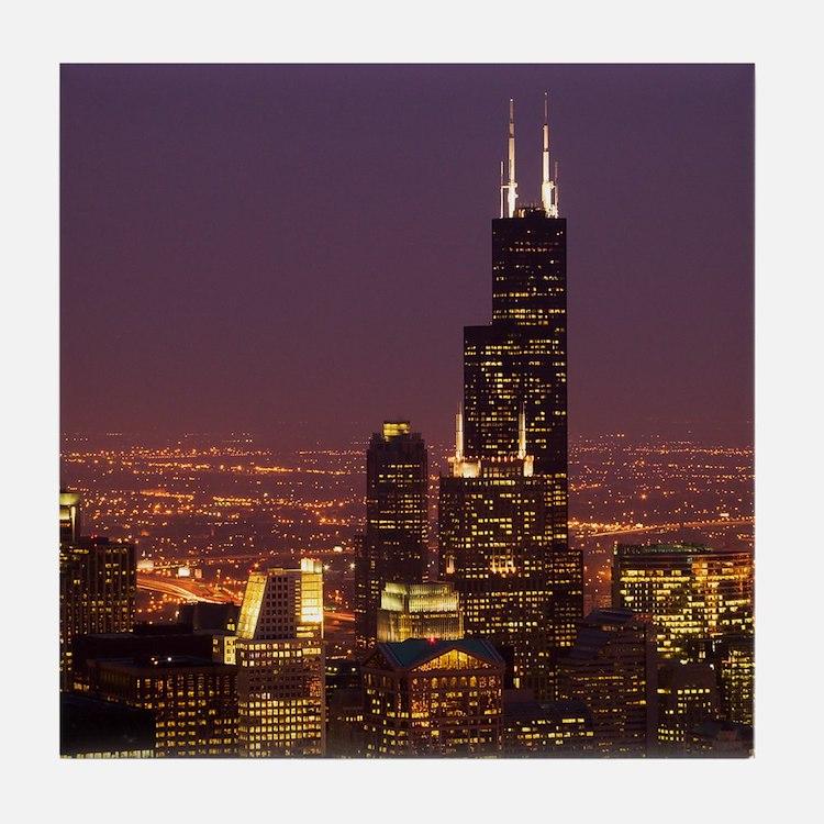 Sears Tower Night Tile Coaster