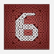 """""""Red Celtic Knot Number"""" Tile Coaster"""