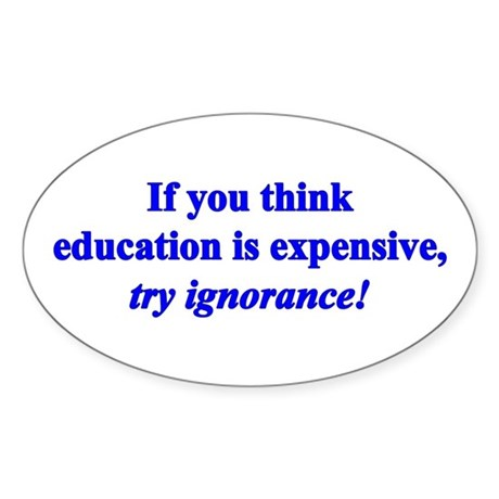 Education quote (blue) Sticker (Oval)
