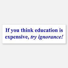 Education quote (blue) Sticker (Bumper)