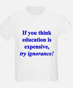 Education quote (blue) T-Shirt