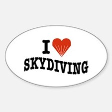 I Love Skydiving Oval Decal