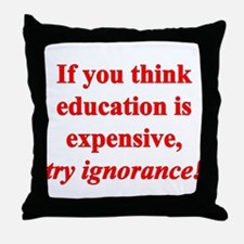 Education quote (Red) Throw Pillow