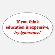 Education quote (Red) Sticker (Oval)