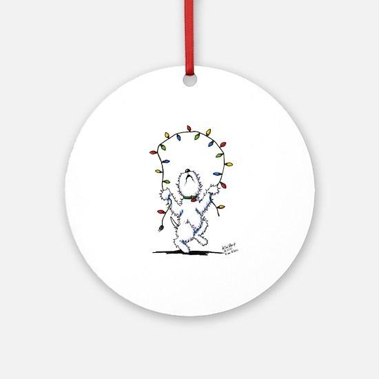 Joyful Christmas Westie Ornament (Round)