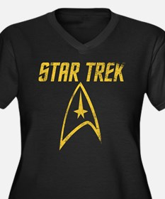Vintage Star Trek Women's Plus Size V-Neck Dark T-