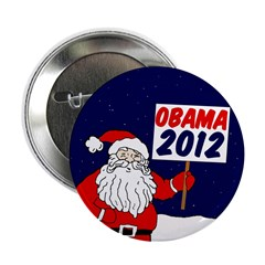 Santa for Obama 2012 Xmas Button