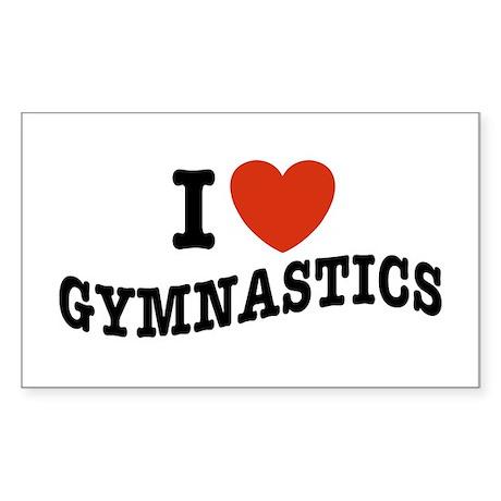 I Love Gymnastics Rectangle Sticker
