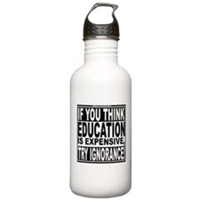 Education quote (Warning Label) Water Bottle