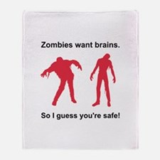Zombies Want Brains Throw Blanket