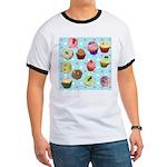 Polka Dot Cupcakes Ringer T-Shirt