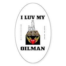 I Luv My Oilman Sticker(Oval)Love,Oil Derrick
