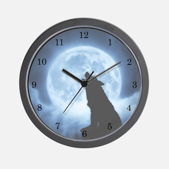 Cries of the Night Wolf Wall Clock