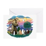 St Francis (ff)-7 Cats Greeting Card