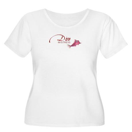 Dive Mistress Women's +Size Scoop T-Shirt (White)