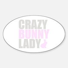 CRAZY BUNNY LADY Sticker (Oval)