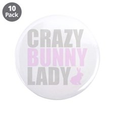 """CRAZY BUNNY LADY 3.5"""" Button (10 pack)"""