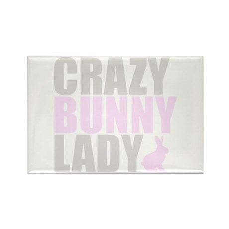 CRAZY BUNNY LADY Rectangle Magnet