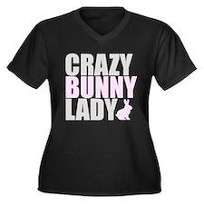 CRAZY BUNNY LADY Women's Plus Size V-Neck Dark T-S