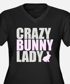 CRAZY BUNNY LADY Women's Plus Size V-Neck Dark T-S
