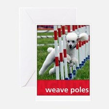 Agility Poodle : Weave Poles Greeting Cards