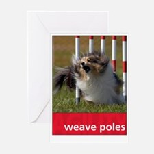 Agility Sheltie : Weave Poles Greeting Cards