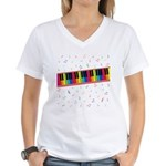 Colorful Piano Women's V-Neck T-Shirt