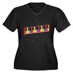 Colorful Piano Women's Plus Size V-Neck Dark T-Shi