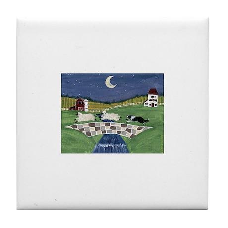 A Sheepdog's Work Is Never Do Tile Coaster