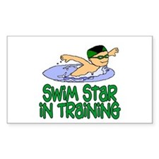 Swim Star in Training Andrew Rectangle Sticker