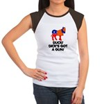 DUCK! DICK'S GOT A GUN! Women's Cap Sleeve T-Shirt