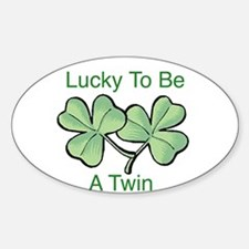 Lucky To Be A Twin Oval Decal